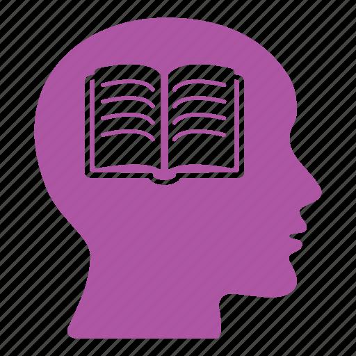 book, brain, creative, education, head, reading, school icon