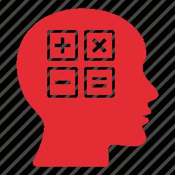 brain, calculation, calculator, education, head, maths, school icon