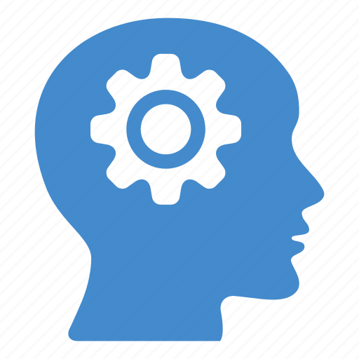brain, cogwheel, creative, gear, head, idea, productivity icon