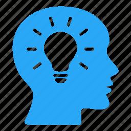 bald, bulb, creative, design, head, ideas, lightbulb icon