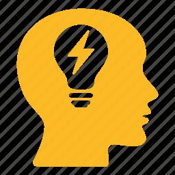 bald, bulb, creative, energy, head, lightbulb, power icon