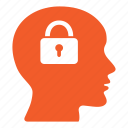 brain, head, lock, padlock, people, person, security icon
