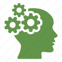 brain, cogwheel, creative, gears, head, idea, productivity icon