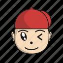 cartoon, character, cute, emoji, head, red icon