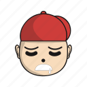 cartoon, character, cute, emoji, head, red icon