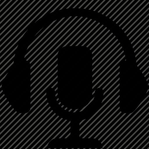 headphones, microphone, music, radio, record icon
