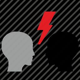 antagonism, head, man, opposition, politics, shock, storm icon
