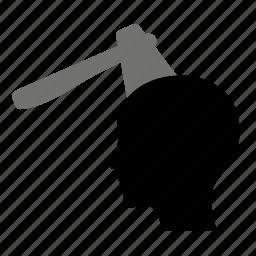 axe, head, kick, kill, man icon