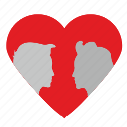 face, head, heart, love, man, romantic, woman icon