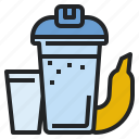 banana, bodybuilder, milk, protein, shake, whey icon