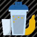 banana, bodybuilder, milk, protein, shake, whey icon