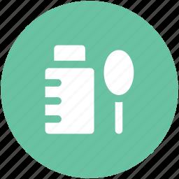 liquid medicine, medical treatment, medication, medicine bottle, medicine syrup, spoon, syrup bottle icon
