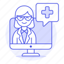 app, clinic, doctor, female, health, information, medical, online, ppointment, softwarea icon