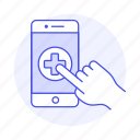1, app, appointment, clinic, hand, health, hospital, medical, online, platform, software icon