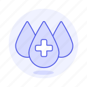 3, blood, bloodbank, cross, donation, drop, drops, health, white icon