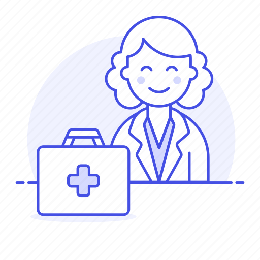 aid, doctor, female, first, health, kit, medical, personnel, physician, practitioner icon