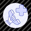 1, ambulance, call, emergencies, hand, health, help, hold, paramedic, phone, services icon