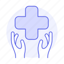 2, benefits, cross, hand, health, insurance, medical, policy, red, services icon