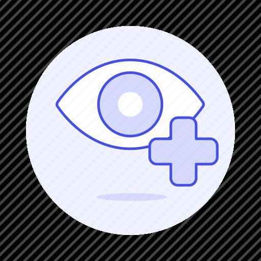 cross, diseases, emergency, eye, health, injury, ocular, ophthalmology, optic, red, treatment icon