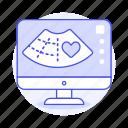 diagnostic, echocardiogram, echography, health, heart, imaging, medical, pregnancy, screen, ultrasound icon