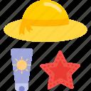 beach, beauty, cream, hat, health, star icon