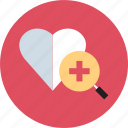find, health, heart, search icon