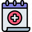 calendar, emergency, health, healthy, hospital icon