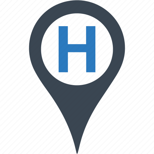 hospital, location, map, pin icon