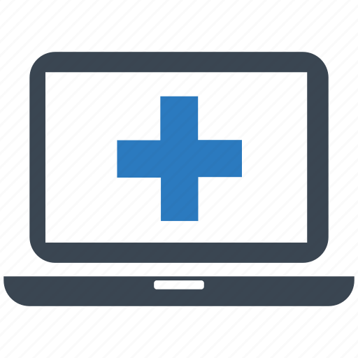 ehealth, healthcare, laptop, medical help, online doctor, online medical services icon