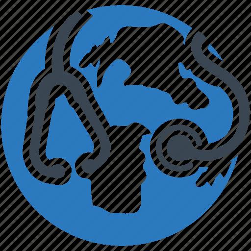 global, global healthcare, health, medical, stethoscope icon
