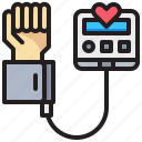 blood, equipment, hand, heart, pressure, rate, tool icon