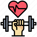 exercise, hand, heart, rate, stress, test icon
