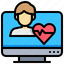 checkup, computer, health, man, online, rate icon