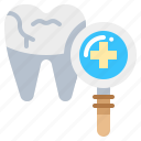 dental, examination, magnify, teeth, tooth icon