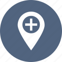 location, map, medical, navigation, pointer icon