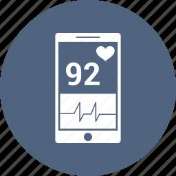 ecg, health, healthcare, medical, mobile, phone icon