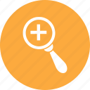 find, glass, magnifying, medical, search icon