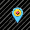 health, location, medicine, navigation, pin