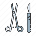 health service, healthcare, hospital, scalpel, scissors, surgery, tools icon