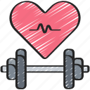 cariogram, dumbbell, fitness, health, heart, medical icon