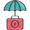 aid, first, health, insurance, medikit, umbrella icon