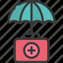aid, first, health, insurance, medikit, umbrella