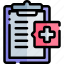 clipboard, emergency, health, healthy, hospital icon
