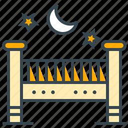 baby, care, crib, health, medical, moon, star icon