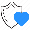 health, heart, protection, shield icon