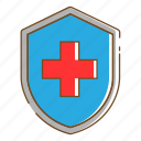 healthcare, medical, protection, shield icon