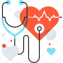 cardio, diagnosis, heart, instrument, medicine, stethoscope, tool icon