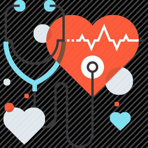 cardio, diagnosis, heart, instrument, medicine, stethoscope, tool icon