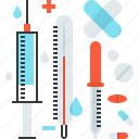 heal, healthcare, medicine, pills, syringe, thermometer, treatment icon
