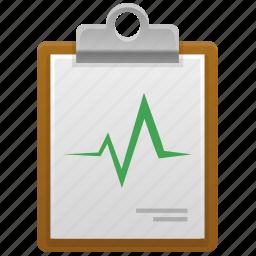 aid, cardio, checklist, clipboard, diagnosis, health, healthcare, history, hospital, illness, medical, medicine, pulse icon